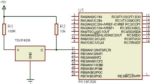 схема подключения TSOP4836 к